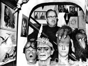 """Forrest Ackerman """"The Wizzard"""" and some of the monsters that inhabit his mansion. (1969)"""
